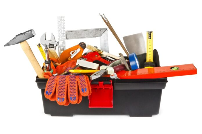 different kinds of tools in a small tool box